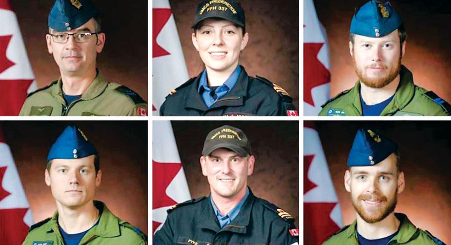■坠海直升机上6人照片。    国防部提供